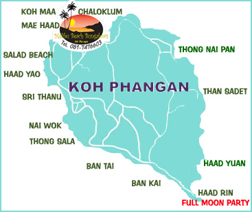 Koh Phangan Thailand Map.Malibu Beach Bungalows Koh Phangan Thailand